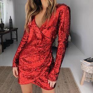 Tiger Mist Red Flores Sequined Dress